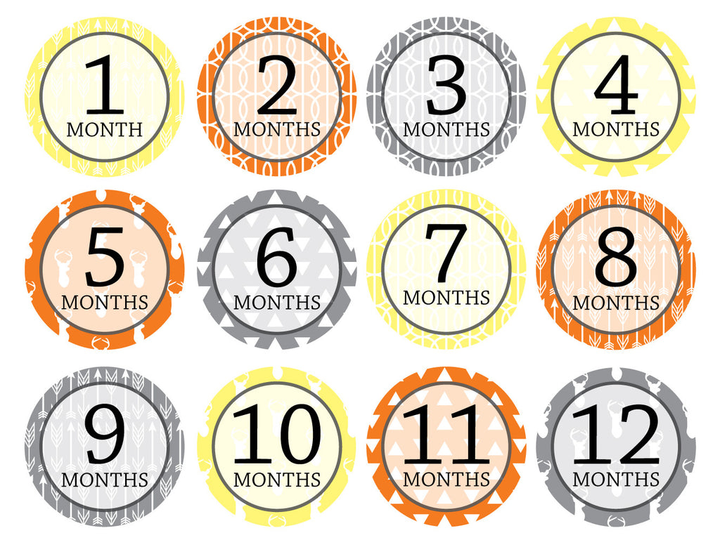 Month-by-Month Stickers {Huntsman Boy or Girl}