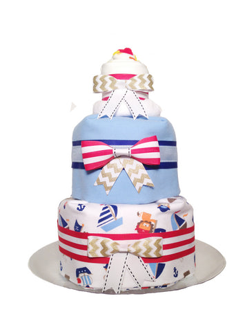 3 Tier Blanket Diaper Cake- Pirate Ships