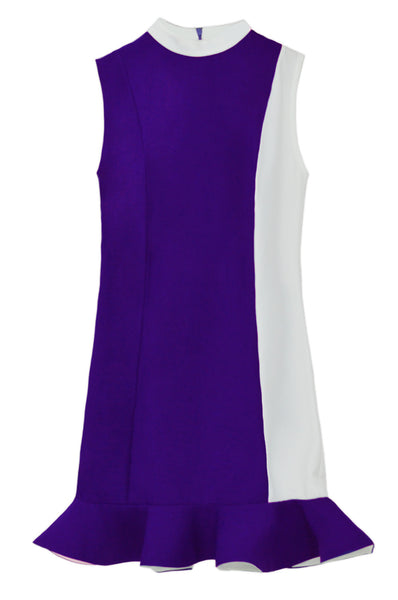 CALLA Color-block Peplum Dress with Collar