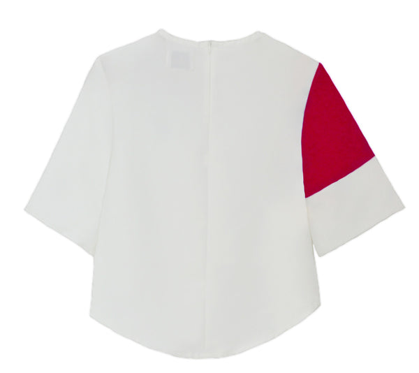 ALTHEA Appliquéd Color-block Cropped Top