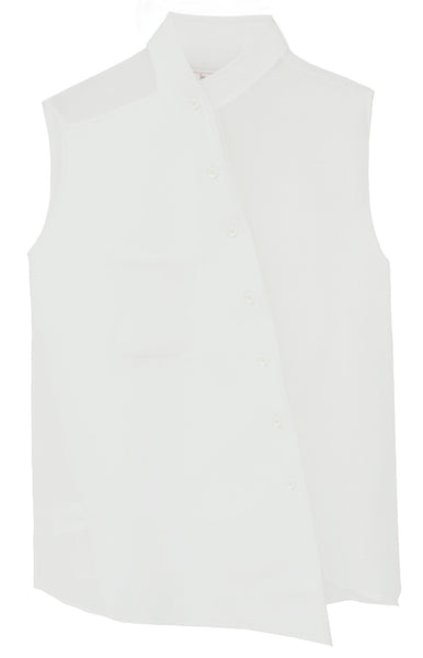 MOR Asymmetrical Sleeveless Sheer Shirt