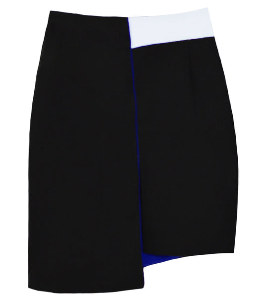 RUE Asymmetrical Color-block Tube Skirt