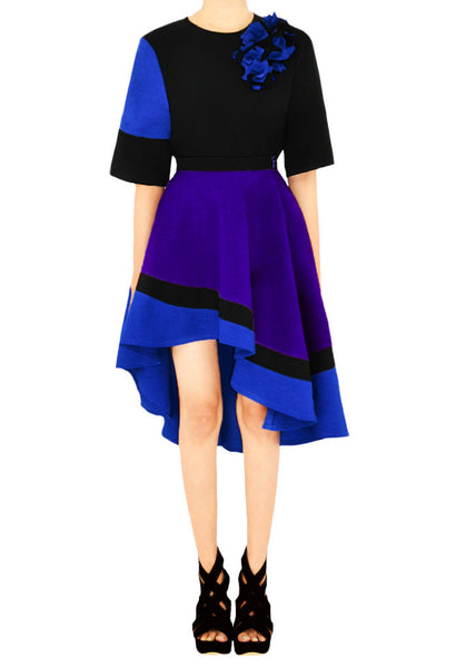 IONE Color-combined Asymmetrical Circle Skirt