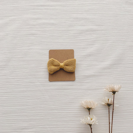 Knitted Hair Bows - Almond Cream