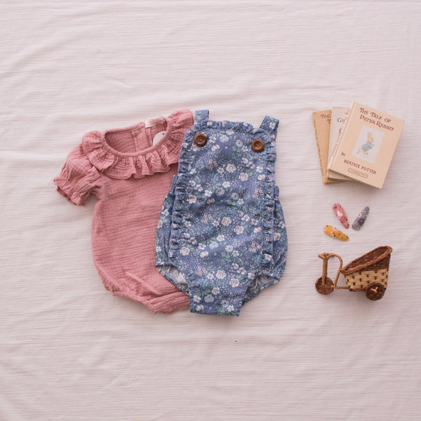 Ruffle Neck Rompers / Top - Dusty Pink