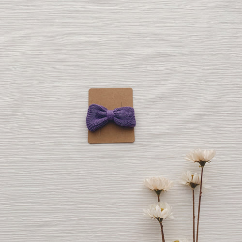 Knitted Hair Bows - Purple