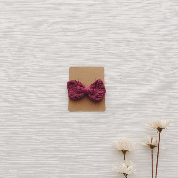 Knitted Hair Bows - Berry