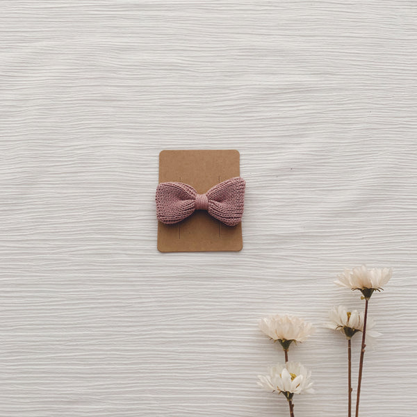 Knitted Hair Bows - Dusty Pink