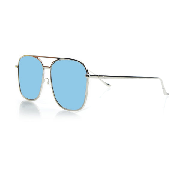 GENEVA LARGE (Silver Metal, Blue Mirror Lens)