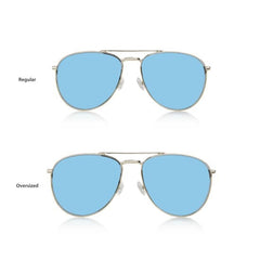 MIAMI LARGE (Silver Metal, Blue Mirror Lens)