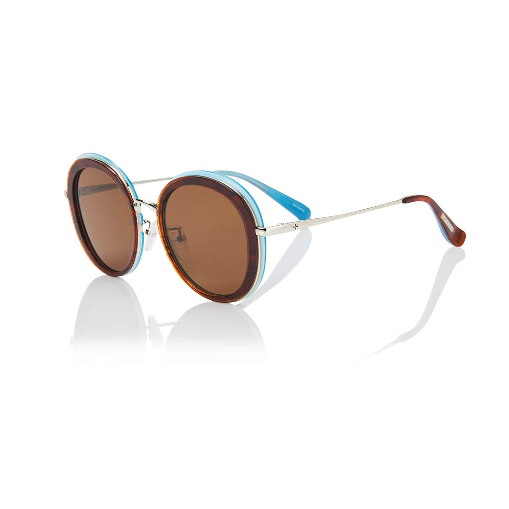 PORTOFINO (Blue Jay and Silver Metal with Solid Brown Lens)