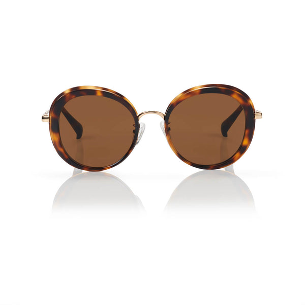 PORTOFINO (Honey Tortoise and Gold Metal with Solid Brown Lens)