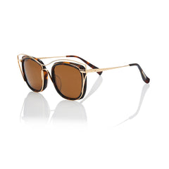 DUBAI (Honey Tortoise and Gold Metal with Solid Brown Lens)