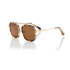 VANCOUVER (Honey Tortoise and Gold Metal with Solid Brown Lens)