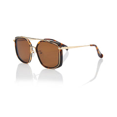 BERLIN (Honey Tortoise and Gold Metal with Solid Brown Lens)