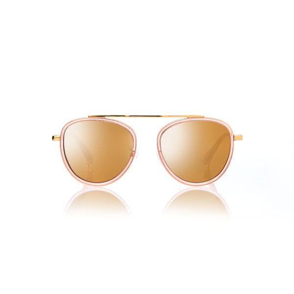 STOCKHOLM (Orange Pearl and Gold Metal with Gold Mirror Lens)