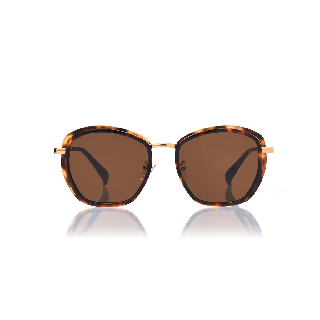 PRAGUE (Honey Tortoise and Gold Metal with Solid Brown Lens)