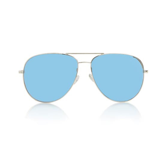VEGAS LARGE (Silver Metal, Blue Mirror Lens)