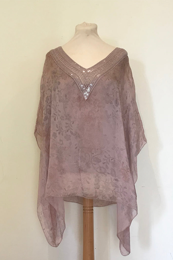 DELICATE PRINT  SILK V-NECK TOP WITH SILK CROCHET AND SEQUIN DETAIL