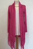 SOFT JERSEY LONGLINE CARDIGAN WITH SILK LAPEL AND HEM