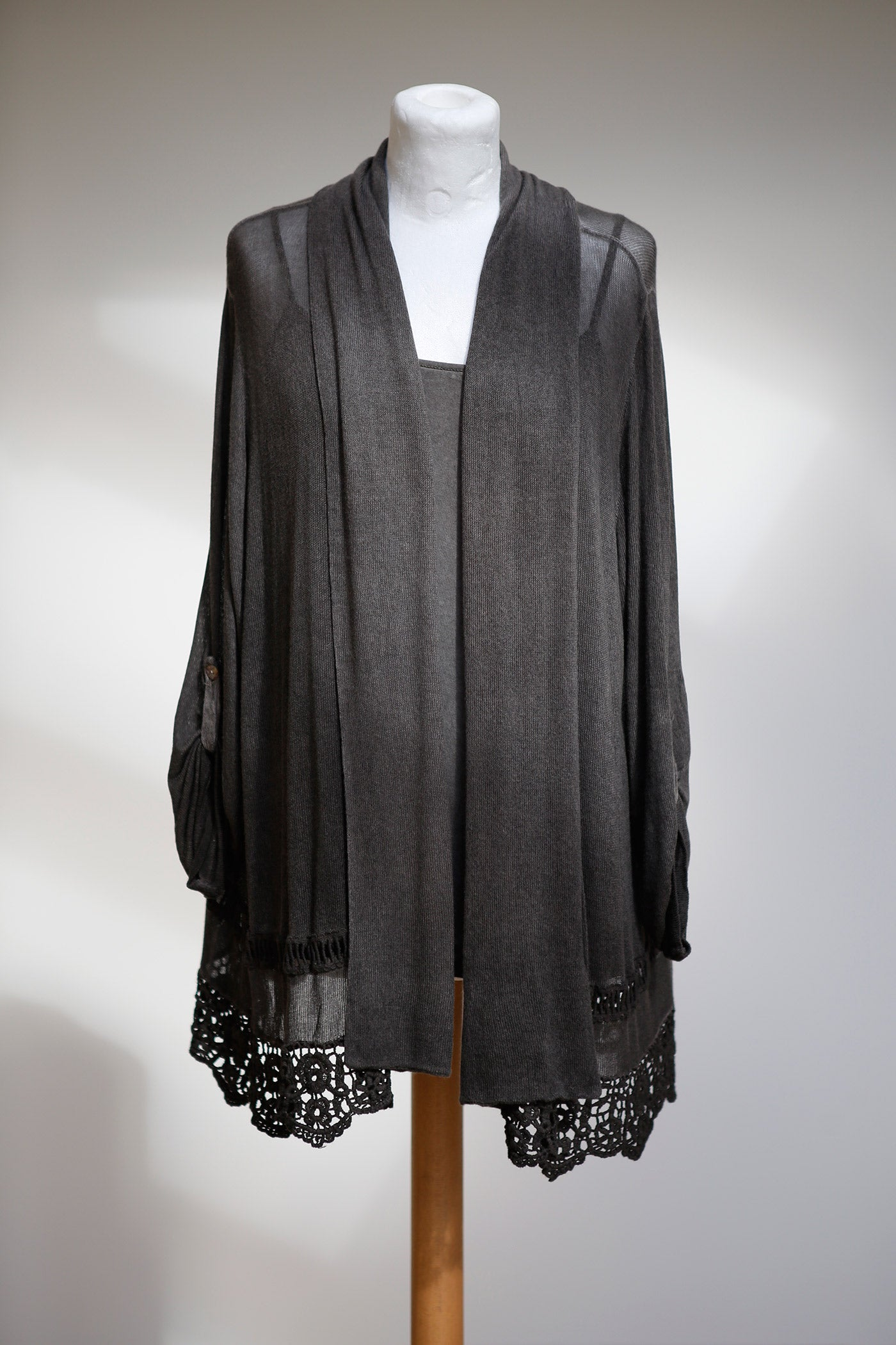 LONG LINE LACE HEMMED ASYMMETRIC CARDIGAN WITH INTEGRAL CAMISOLE