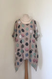 OVERSIZED ASYMETRIC SPOTTY LINEN TUNIC WITH 2 FRONT POCKETS