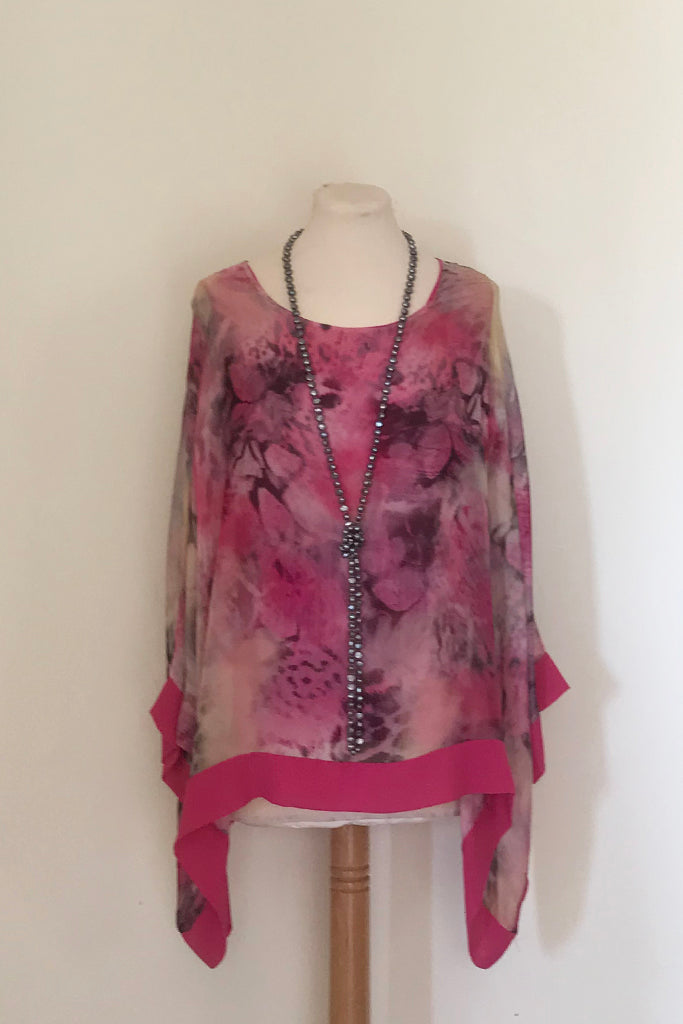 ANIMAL PRINT SILK TOP WITH PLAIN HEM AND CUFF