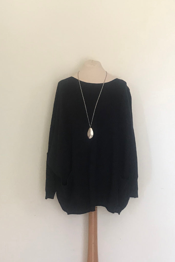OVERSIZED ROUND NECK JUMPER WITH 2 FRONT POCKETS