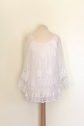 LACE AND EMBROIDERED SILK TOP