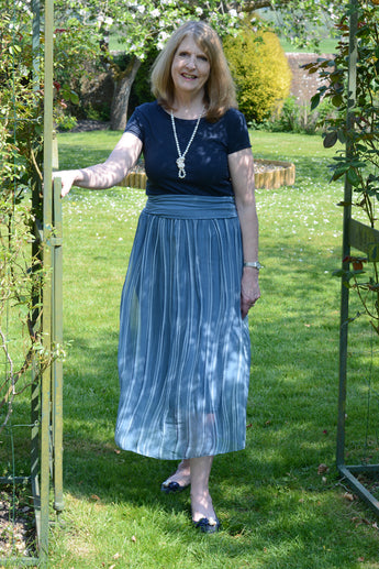 STRIPED SILK MIX, MIDI SKIRT OR STRAPLESS DRESS