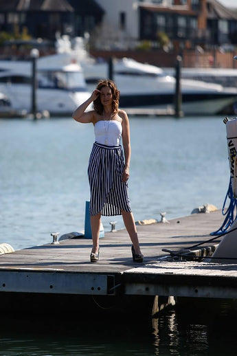 NAVY & WHITE STRIPY SKIRT