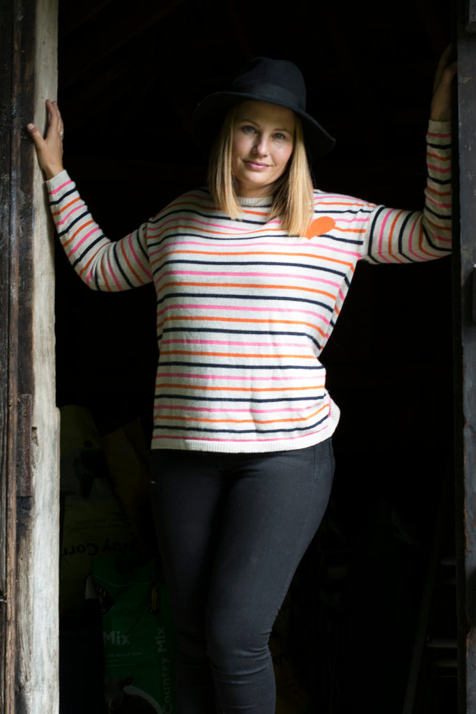 ROUND NECK MULTI STRIPED JUMPER WITH ORANGE HEART