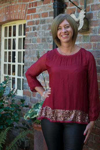 LONG SLEEVE 100% SILK GYPSY STYLE TOP WITH SEQUINED HEMLINE