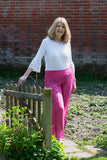 SILK MIX, STRIPED PALAZZO TROUSER WITH JERSEY WAISTBAND