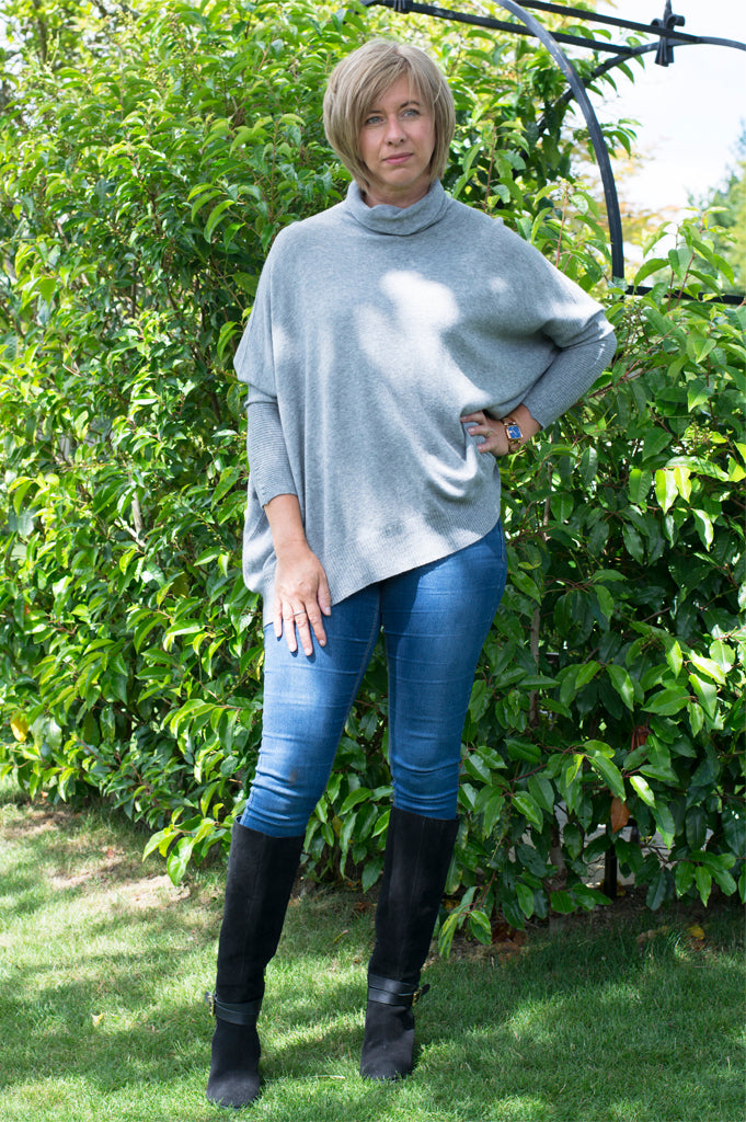 RIB SLEEVE COWL NECK OVERSIZED SWING JUMPER