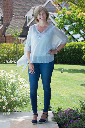 PLAIN SILK V-NECK TOP WITH SILK CROCHET AND SEQUIN DETAIL TO NECKLINE
