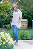 OVERSIZED ASYMETRIC PLAIN LINEN TUNIC WITH 2 FRONT POCKETS