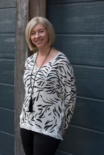 CREAM & BLACK ZEBRA PRINT KNIT TOP WITH SILK TRIM