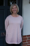 PALE PINK ROUND NECK JUMPER WITH FRONT POCKETS AND SIDE BUTTON DETAIL