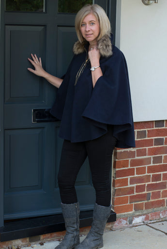 WOOL PONCHO WITH FAUX FUR COLLAR AND ZIP DETAIL