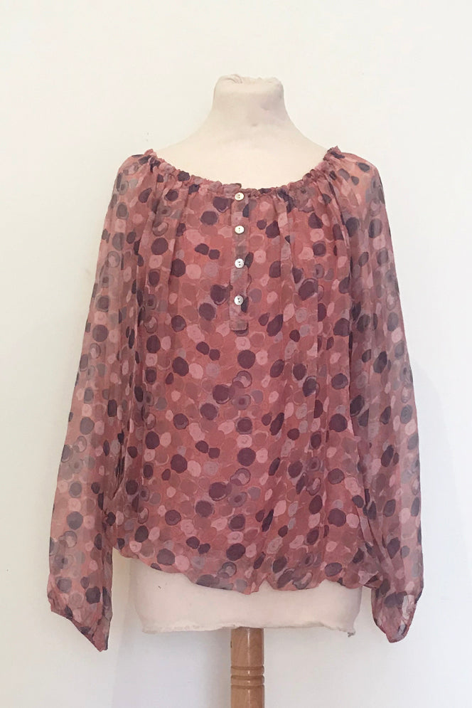 SPOTTED SILK GYPSY STYLE TOP WITH BLOUSON HEM