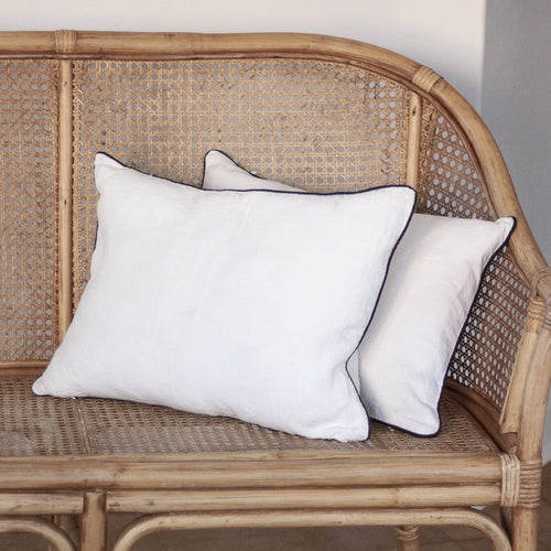 LINEN CUSHION COVER 35x50cm (white with black piping) by Tikau