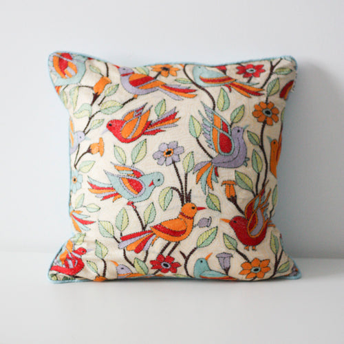 BIRDS EMBROIDERED CUSHION COVER (Light blue) By Tikau