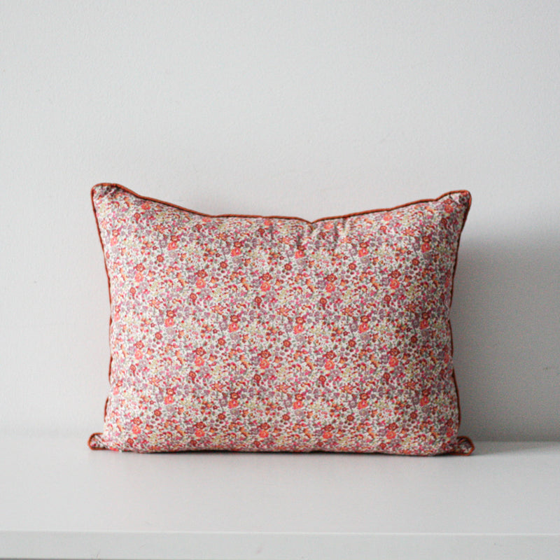 LIBERTY FLOWER CUSHION by Tikau Merikatu (35x50 cm, Red with multicolor flowers) NEW