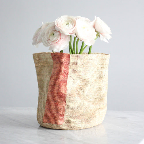 RAFFIA BASKET L by Domoina (different colours & stripes)