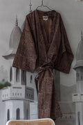 ORGANIC COTTON KIMONO by Tikau (Brown/flowers)