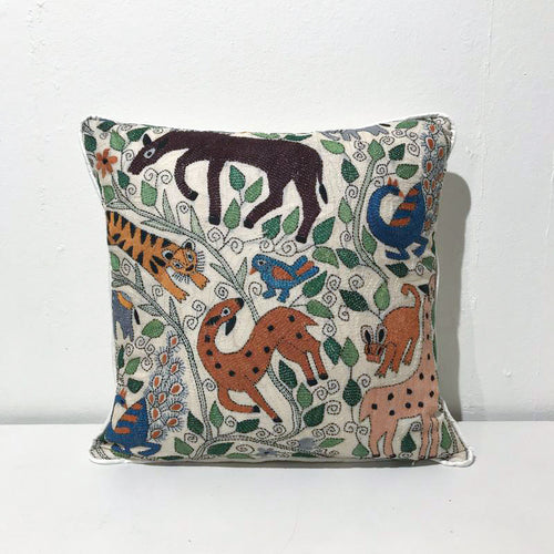 ANIMALS EMBROIDERED SILK CUSHION COVER By Tikau