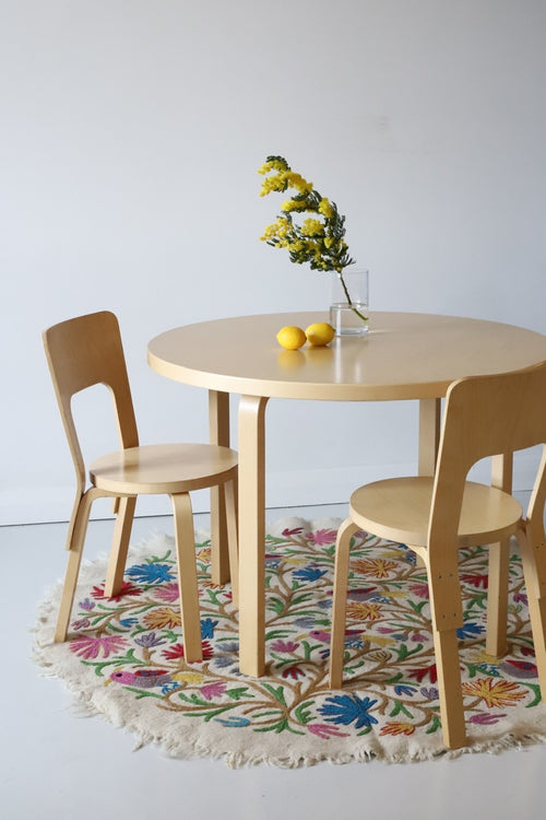 BIRDS CARPET  ROUND by Tikau, NEW multicolor 155cm