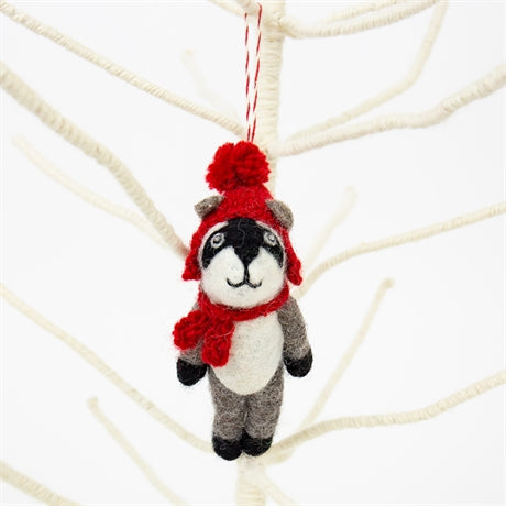BADGER RED CAP Christmas pendant by Afroart