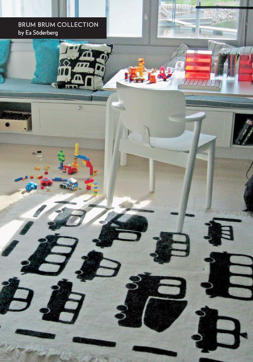 BRUM BRUM CARPET By Tikau (White and Black, 150x210 cm)